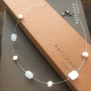 Silpada sterling pink quartz pearl wire necklace